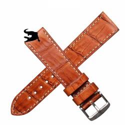 Arezzo DARK-CROCO 20mm crocodile bracelet montre crocodile doublure caoutchouc