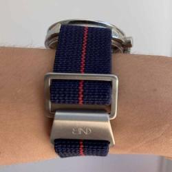 bracelet parachute marine nationale nato 20mm bleu et rouge